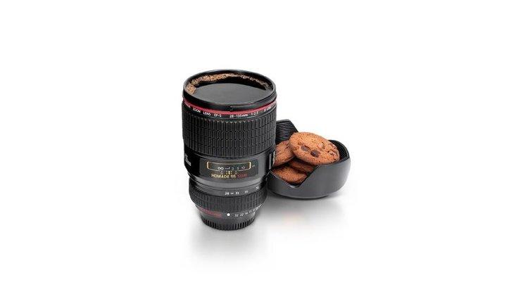 Tasse objectif appareil photo Canon ou Nikon noir