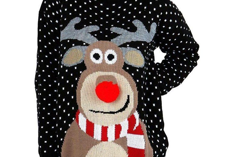 Pull moche de Noël Rudolph le renne avec nez rouge imprimé 3d
